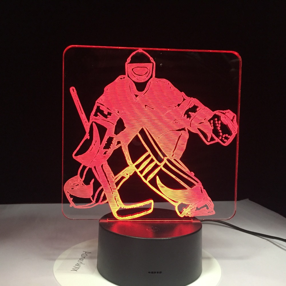 Ice Hockey Player Sport 3D Lamp 7 Colorful LED Night Light USB Bedroom Sleep Lighting Gifts for Kids Canadians Decoration 3D1069 стоимость