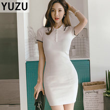 t shirt dress Women summer Polo collar knitting solid striped dresses Casual Short Sleeve Large stretch