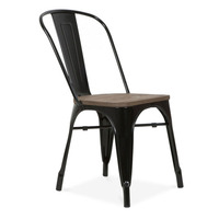 Free Shipping Metal Black Side Chair with Elm Wood Seat