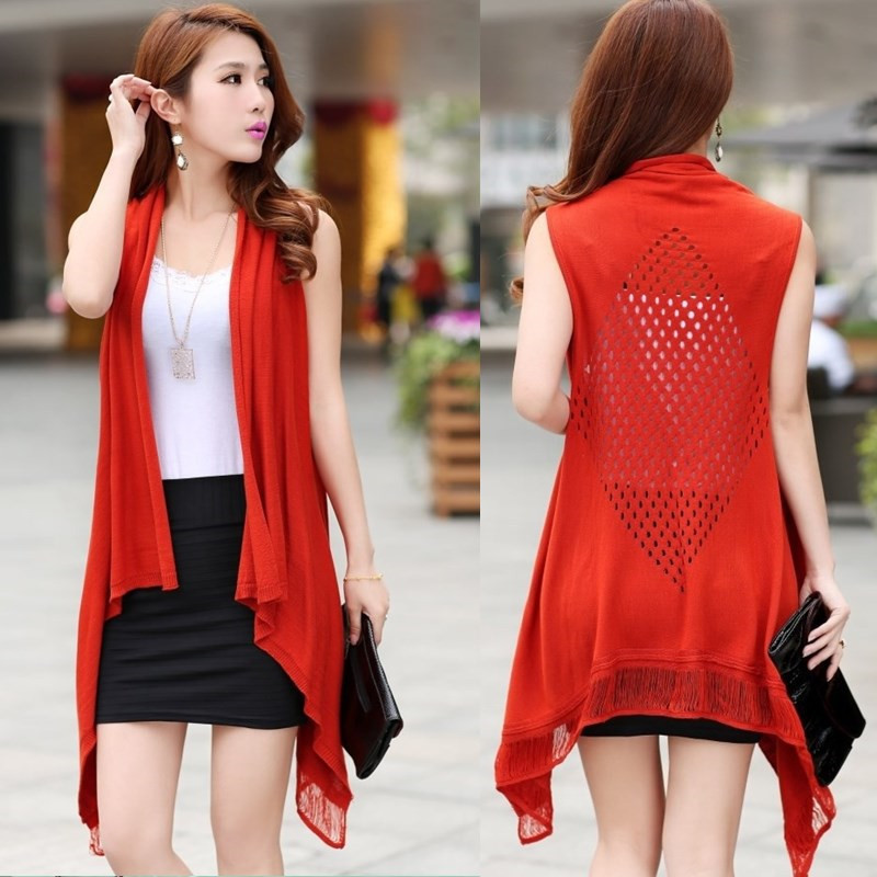 2015 New Fashion Women Summer Cardigan Red Black Hollow Cardigan ...