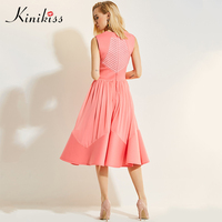 Kinikiss Women Summer Casual Dress 2017 Pink Patchwork Pleated Zippers Sleeveless Fashion Empire New Elegant Autumn