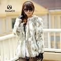 Envío Gratis Genuine Rabbit Fur Coat chaqueta larga de piel de conejo natural Chaleco de Piel de Conejo Invierno de Las Mujeres más el tamaño F630