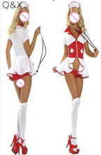 YQ42 2016 New Sexy Nurse Costumes Nightgown White Halloween Costume Cosplay Uniform Hot Sexy Wetlook V Neck Zipper Fancy Dress xb17 2018 sexy christmas costume red white wetlook faux leather exotic dress cosplay halloween uniform with white fur red hat