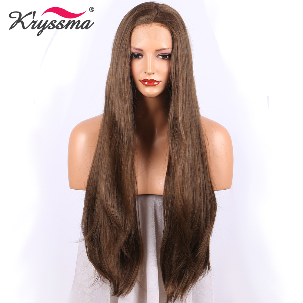 Dark Brown Synthetic Lace Front Wig Long Straight Brown Wigs For Women 24 Inches Free Part Glueless Heat Resistant Fiber