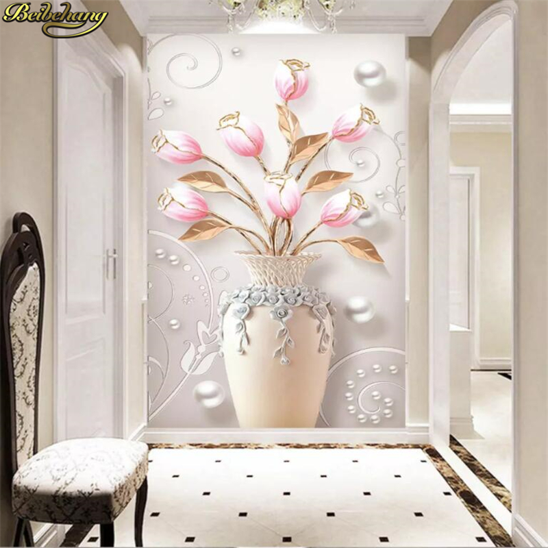 Beibehang Custom Embossed Home Rich Vase Tulips European Porch Photo Mural Wallpapers For Living Room TV Background Bedroom