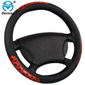 New Faux Leather Car Steering Wheel Covers Hubs With Rubber Ring Reflect Light Car Accessories Red 38cm On Sale Free Shipping