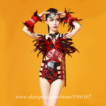 TV Show Sexy Lady Evening Party Dress Red Feather Ballroom Costume Clothing Performance DJ Singer Dance