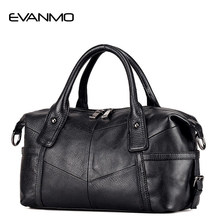High-end Real Boston Polyester Soft Women Genuine Leather Handbag Design  Crossbody Bag Classic European   American Style Totes E 63d175b9737e0
