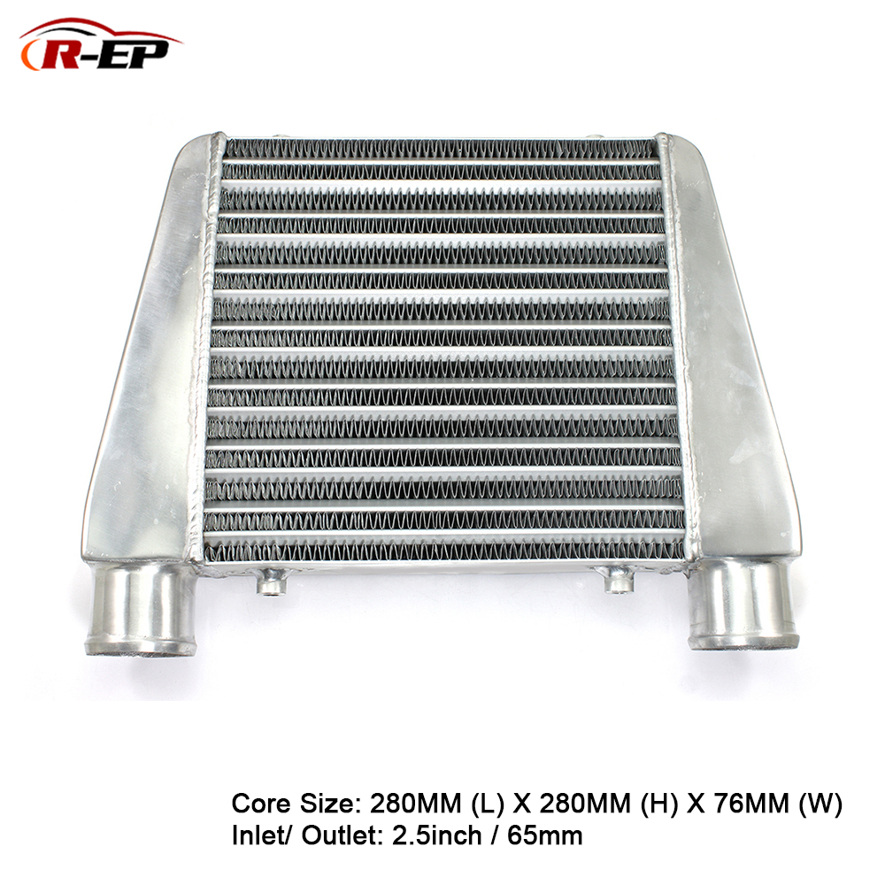 <font><b>R</b></font>-EP Intercooler Universal 280x280x76mm Aluminum Cold Air Intake Radiator 2.5inch Inlet 63mm Outlet for Turbo Car image