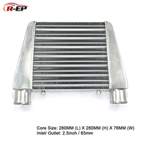 R EP Intercooler Universal 280x280x76mm Aluminum Cold Air Intake Radiator 2.5inch Inlet 63mm Outlet for Turbo Car