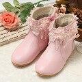 2016 Niña Tobillo Botas Zapatos de Los Niños Zapatos de Princesa De Las Muchachas De Cuero Flor del Cordón Caliente de la Nieve del Invierno Botas