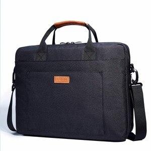 Image 4 - KALIDI wodoodporna torba na ramię 13.3 14 15.6 17.3 cala teczka torba biznesowa mężczyźni kobiety torba płótno Vintage torebka