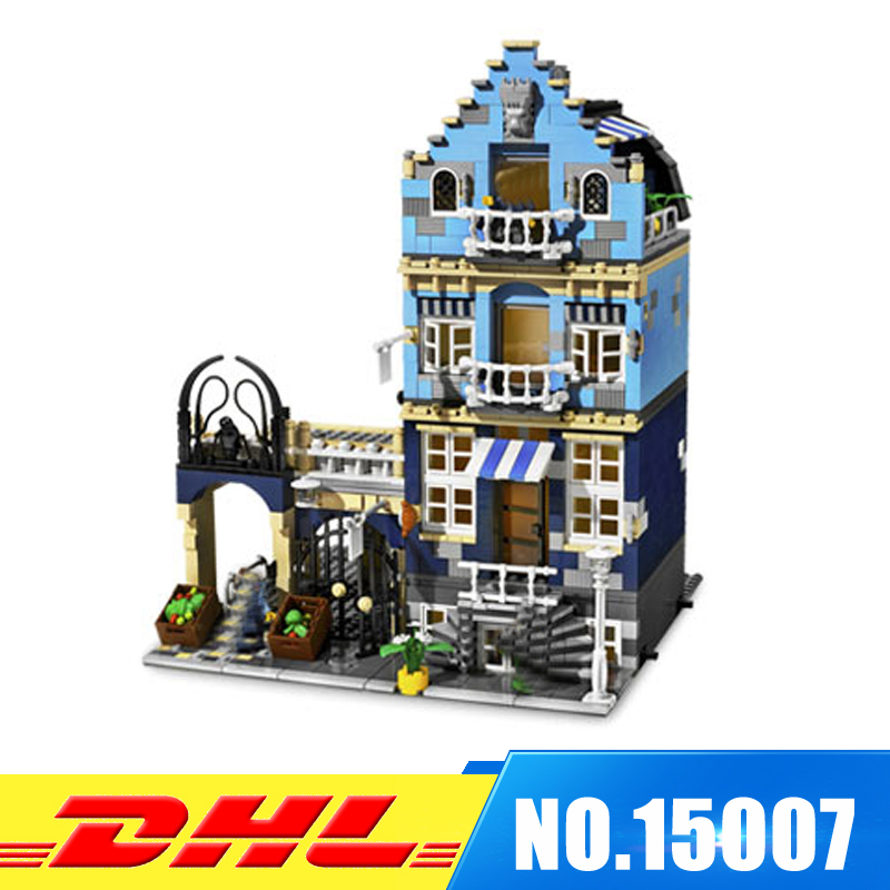 DHL 1275Pcs LEPIN 15007 Factory City Street European Market Model Building Blocks Bricks intelligence Toys Compatible With 10190 lepin 02012 city deepwater exploration vessel 60095 building blocks policeman toys children compatible with lego gift kid sets