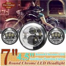 """Chrome 7 """"Farol Projector LED e 2 PCS 4.5 polegadas Auxiliar Passagem de Luz Para Harley Electra Glide"""