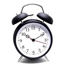Reloj despertador Clásico de escritorio de mesa Vintage ultrasilencioso de Chime con luz de noche negro/blanco
