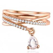 Nueva Anel moda Feminino de múltiples capas cruz cristal de la boda gota de agua del anillo Anillos Mujer joyería fina del Zircon Anillos para mujeres