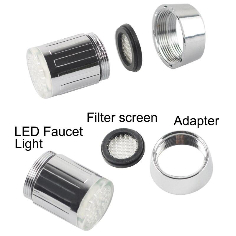 Купить с кэшбэком LED Faucet Light Temperature Sensor RGB Glow Shower Water Shower Head Stream Sink Tap Torneira Bathroom Kitchen Accessories