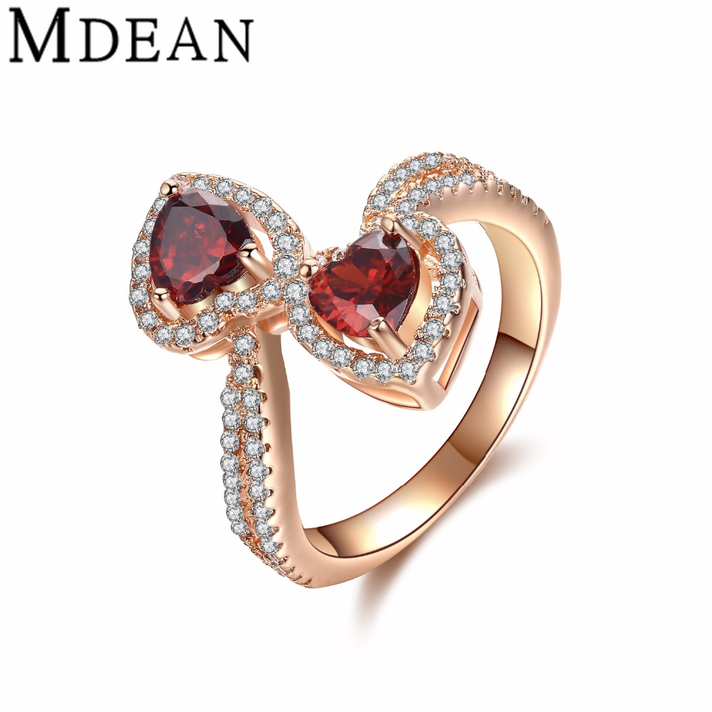 Mdean Rose Gold Plated Ruby Rings For Women Cz Diamond Jewelry Women  Wedding Rings Red Stone