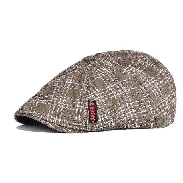 dd10b687 VOBOOM Summer Autumn Cotton Flat Ivy Cap Men Women 8 Panel Design Gatsby Hat  Plaid Beret Newsboy Boina for Boys 048