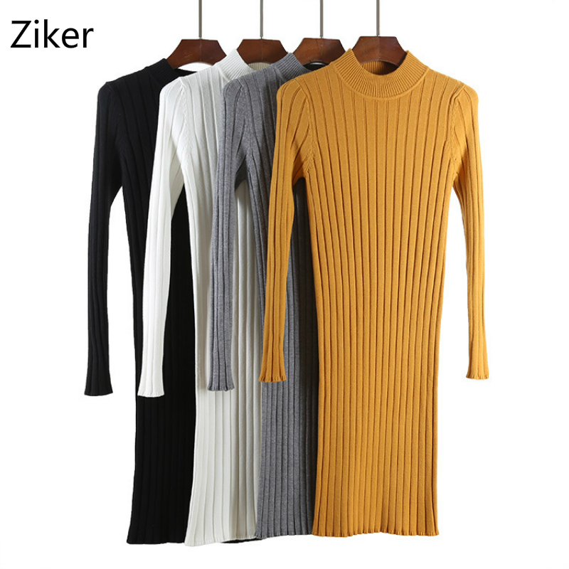 Autumn And Winter Women Sweater Dresses Fashion Stand Collar Long Sleeve Casual Knitted Dress Solid Slim Bodycon Knitting Dress march mordern autumn and winter women