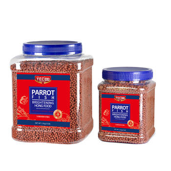 Red Parrot fish food granules float on water - Brightening Food