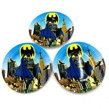 10 шт./лот Бэтмен пластин Бэтмен блюд детский день рождения сувениры с днем рождения, вечеринок Бэтмен бумажных тарелок