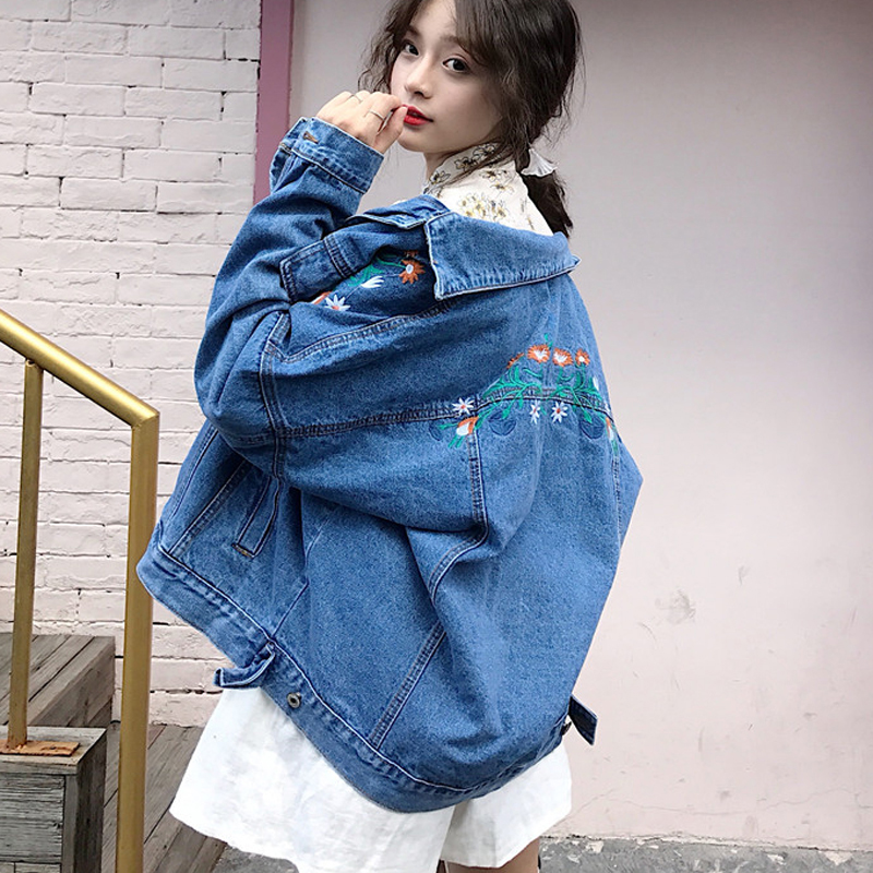 Jacket Embroidered Spring Long-Sleeved Loose Vintage Korean Women Denim Boyfriend Flower