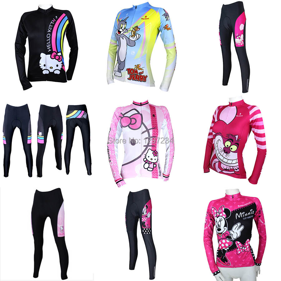 2016 new women cartoon comic pink hello kitty cycling jersey  Mickey Cheshire cat bike jersey Tom and jerry cycle shirt-in Cycling Jerseys  from Sports ... 9a62232dd