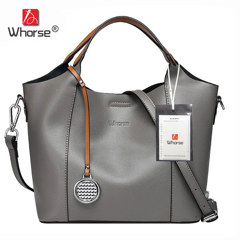[WHORSE] Brand Casual Tote Bag With Pocket Genuine Leather Women's Handbag Cowhide Shoulder Messenger Bags For Women W07880 luxury genuine leather bag fashion brand designer women handbag cowhide leather shoulder composite bag casual totes