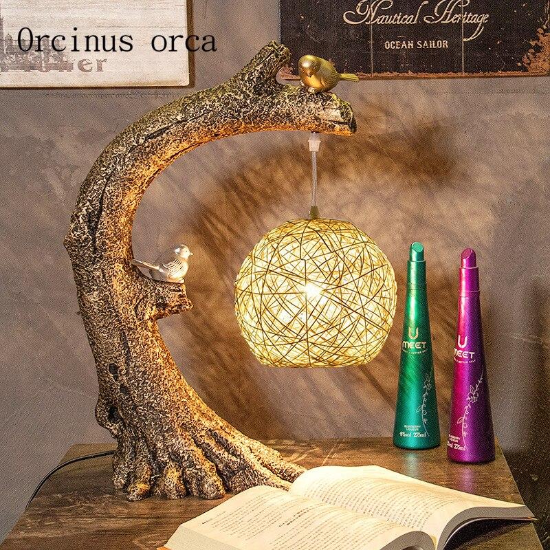 Новые творческие китайский птица настольная лампа исследование гостиная ночники ретро Art декоративные настольные лампы Бесплатная достав...