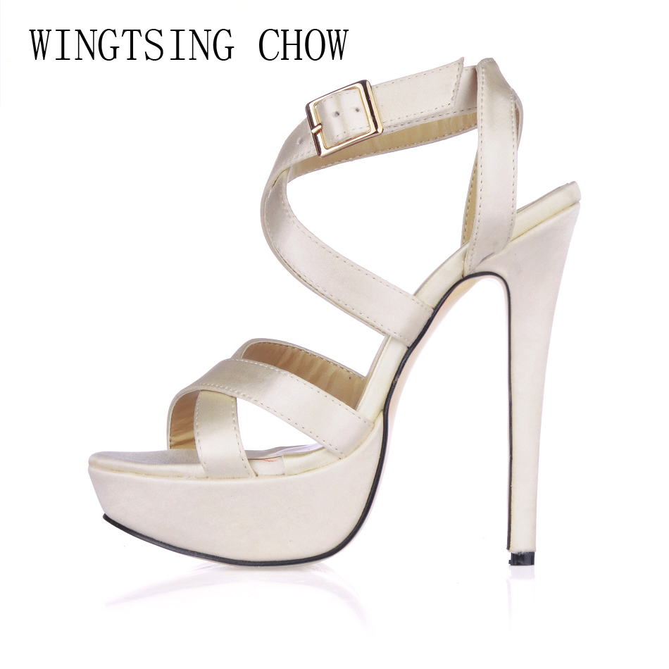 2016 New Ivory Satin Sexy Party Shoes Women Stiletto High Heels Buckle Ankle Strap Platform Lady Sandals Zapatos Mujer 3463SL-A5