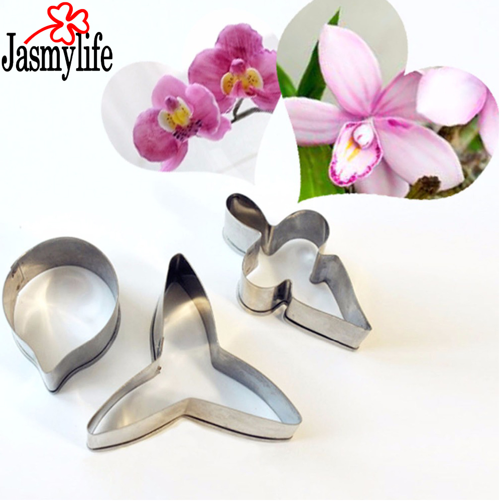3PCS Moth Orchid Petal Cookie Cutter Stainless Steel Flower Cutter Phalaenopsis  Gum Paste Mold Fondant Cake Decorating Tools