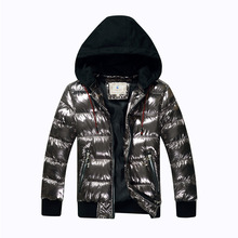 7 16Y Boys Winter Coat Parka Cotton wadded Jacket Big Kids Bronzing Hooded Warm Down Jacket Teens Thicken Waterproof Outerwear
