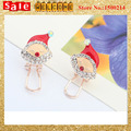 Classic Festival Santa Whit Hat Earring, Gold Plated Fashion Christmas New Year Gift Drip Clip Earring for Women Girl Jewelry