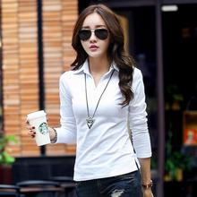 white polos shirts femme plain black polo shirt  women polo long sleeve polos manga larga chemise femme mache longue marque