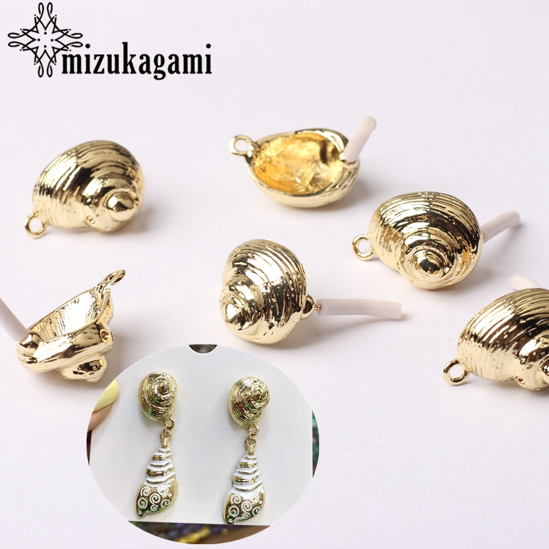 Zinc Alloy Golden 3D Ocean Conch Shell Earrings Base Connectors 6pcs/lot For DIY Beach Earrings Jewelry Making Accessories