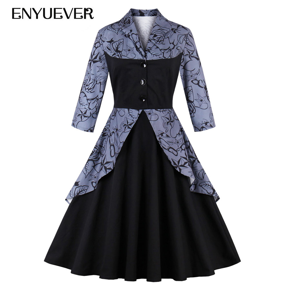 Enyuever 50s Style Vintage Dress Plus Size Women Autumn ...