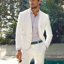 2019 playa trajes de boda para hombres de lino blanco Traje de los hombres  Slim Fit Formal Traje Hombre Resit de 2 piezas trajes. 8a4351fac27