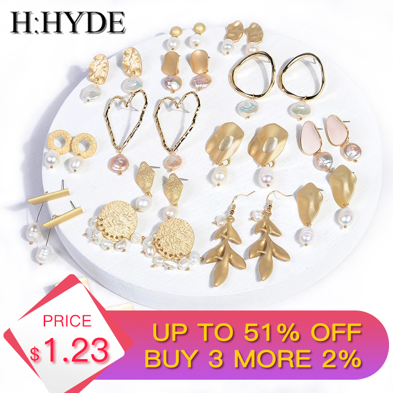 H:HYDE 2019 Luxury New Fashion Jewelry Freshwater Pearl Earrings Personality Geometric Earrings Female Elegant Bohemian Earrings-in Drop Earrings from Jewelry & Accessories on Aliexpress.com | Alibaba Group