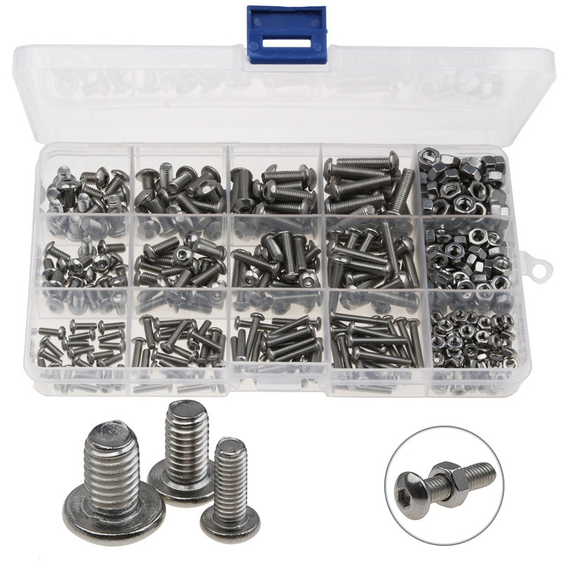 440PCS Stainless Steel Round Head M3 M4 M5 Hex Socket Screws Set Hexagon Nuts & Screw Assorted Kit For Wood/Metal working