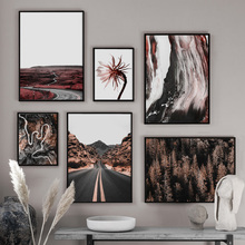Birch Forest Flower Road Landscape Wall Art Canvas Painting Nordic Posters And Prints Decorative Pictures For Living Room Decor