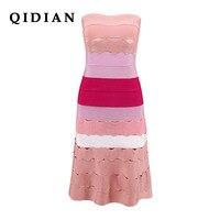 QI DIAN 2018 Party Jacquard Splicing Bandage Dress Rayon Bandage Dress Annual Party Dresses I 140