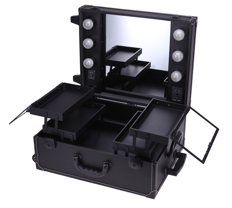 Us 169 0 35 Off Makeup Artist Station Pro Lighted Mirror Case Wheeled Salon Cosmetic Studio Box Three Colors In Cosmetic Bags Cases From Luggage