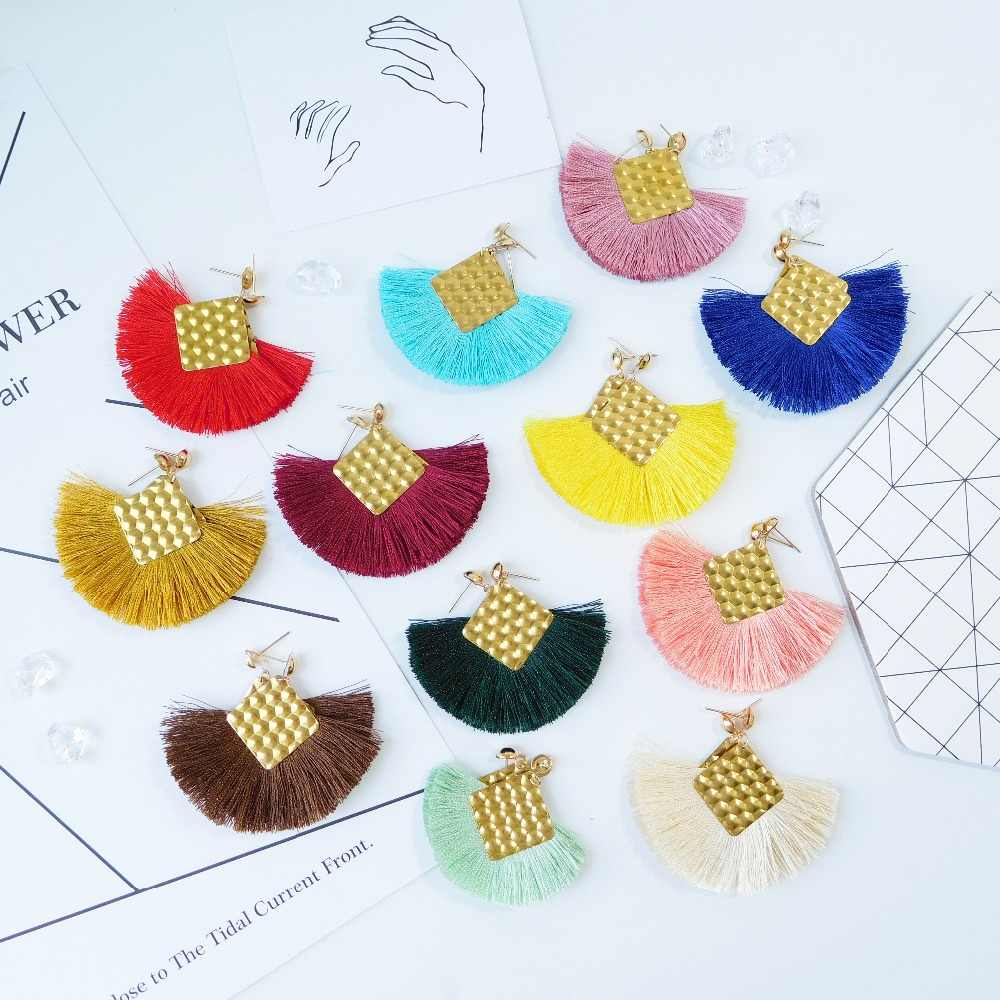 HC Oorbellen Tassel Earrings For Women Fashion Statement 2019 Boho Gold Pompom Drop Fringed Femme Earrings Pendientes Jewelry W