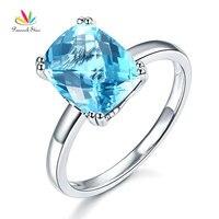 Павлин звезда 14 К Белое золото свадебные Обещание Юбилей Обручение Кольцо Швейцарский голубым топазом