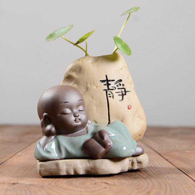 Ceramic Vase Little Monk Decor Tabletop Vase Small Buddha Flowerpot Plant Bonsai Hydroponic Home Decoration Accessor
