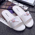 Uwback 2017 New Summer Women Indoor Slippers Open Toe Bow-Knot Comfort Flat Slippers Sweet Pink/Black/White Beach Shoes XJ305
