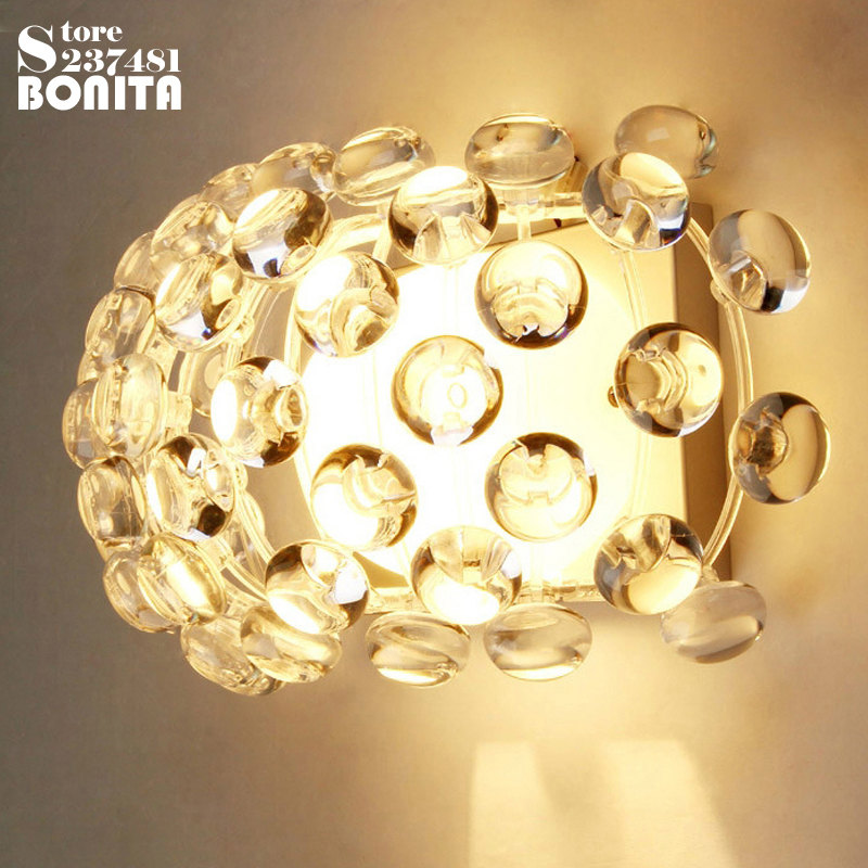 Simple modern Acrylic ion wall lamp Crystal Bead wall lights for bedroom Zeus Sweat Caboche sconces clear / amber bead simple