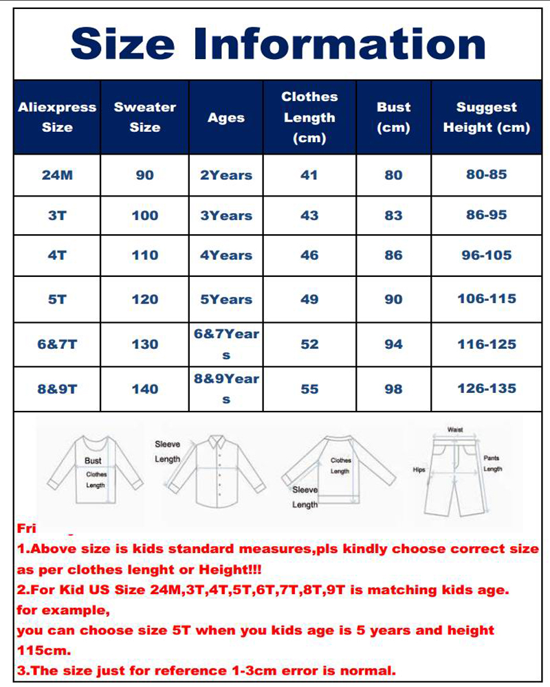 COAT3100 size table