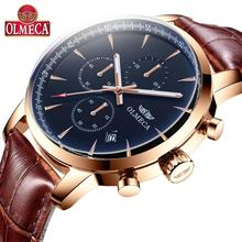 OLMECA Luxury Brand Watch Fashion Men Chronograph Quartz Watches Water Resistant Genuine Leather Clock
